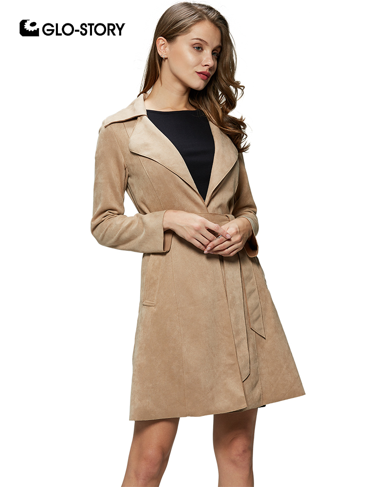 GLO-STORY 2019 New Fashion Women Turn-Down Collar Slim Fit Suede Windbreaker with Sashes Ladies Coats   Trench   WFY-7838