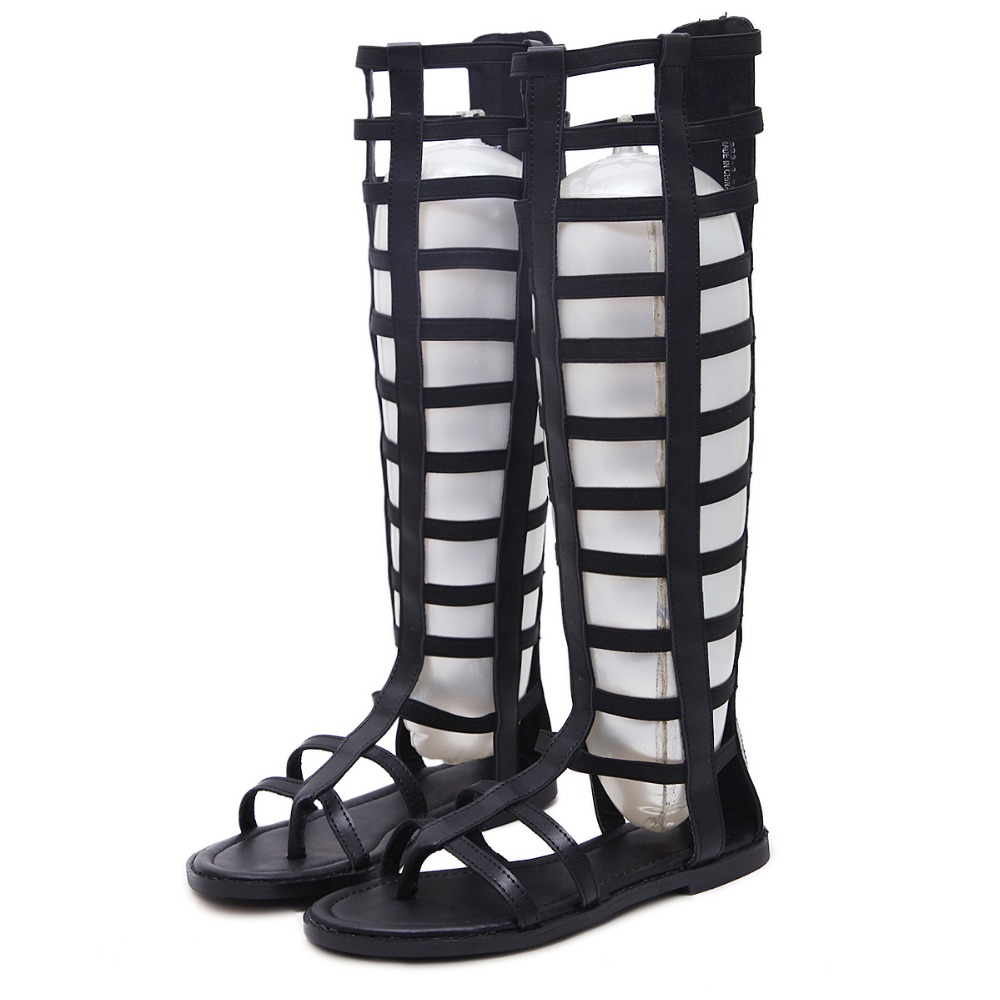 Gladiator Sandals Women Fashion Over The Knee Black Summer Shoes PU Leather Flats Platform Beach Sandals Sandalias Mujer phyanic platform women sandals 2017 new summer gladiator sandals beach flats shoes woman hook