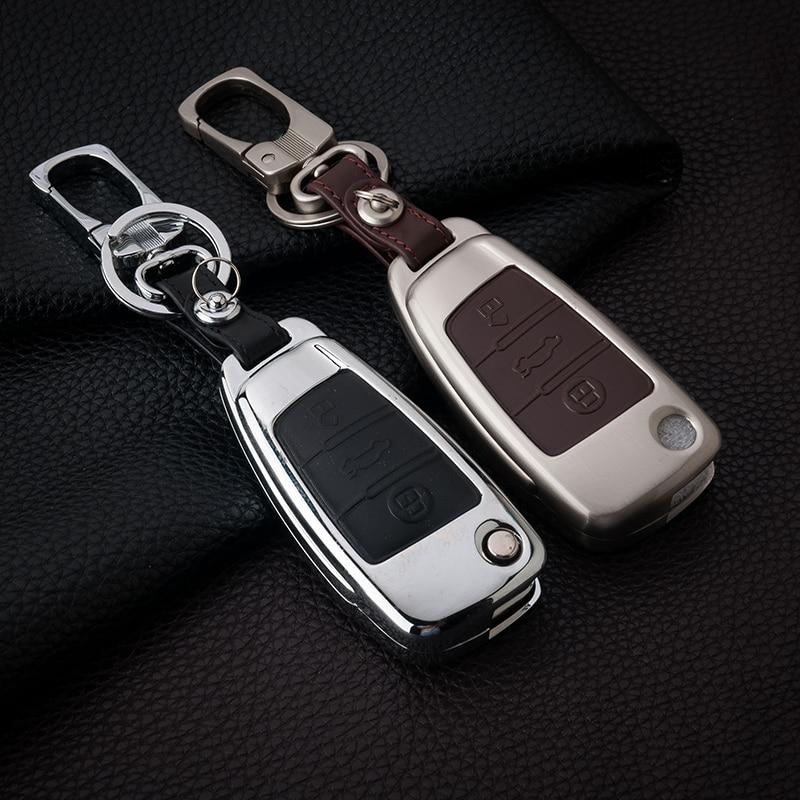 Zink-legierung + Leder Autoschlüssel Abdeckung Für Audi A1 A3 A4 A5 Q3 Q5 Q7 A6 C5 C6 A7 A8 R8 S4 S5 S6 S7 S8 SQ5 RS5 A4L A6L Mit Schnalle