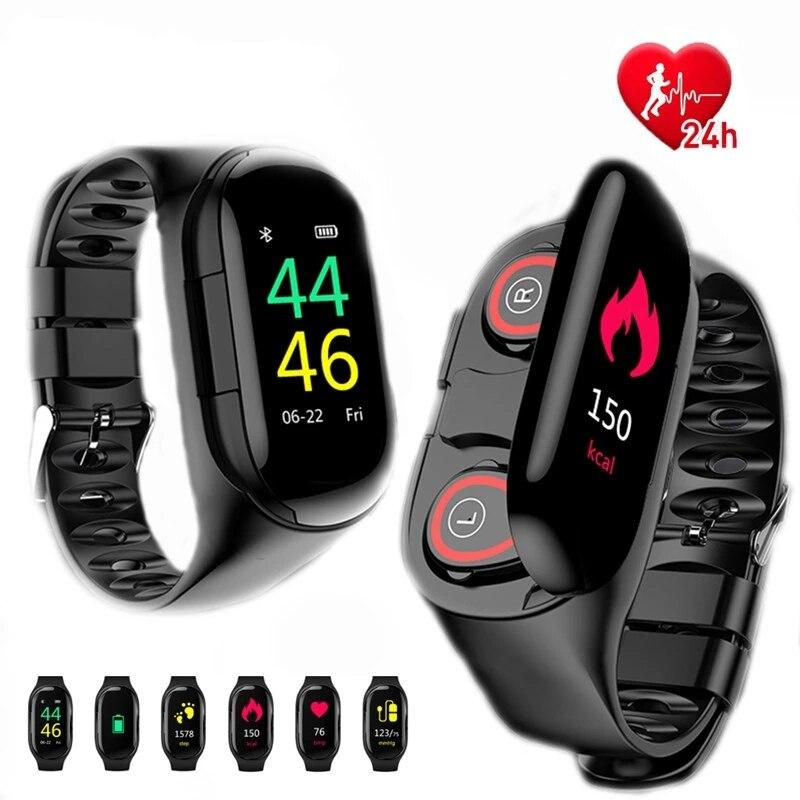 TWS-M1 bracelet intelligent peut répondre au téléphone universel Bluetooth casque deux en un étanche sport montre Bluetooth écouteurs