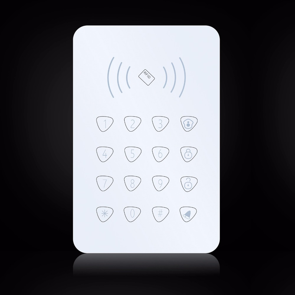 все цены на K07 Wireless RFID Touch Keyboard With 2 pcs RFID tags Password Keypad For G90B GSM Wifi Home Alarm System Security System 433MHz онлайн