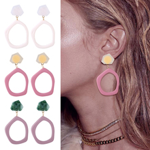HOCOLE 3 New Sweet Irregular Acrylic Earring For Women Fashion Long  Drop Dangle Earrings Stone Korean Jewelry Pendientes 2019