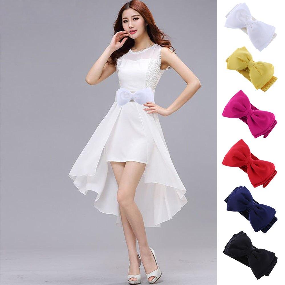 1 PCS Fashion Sweet Women Bowknot Elastic Bow Wide Stretch Summer Skirt Buckle Party Wedding Waistband Waist Belt 2017 Hot Sale