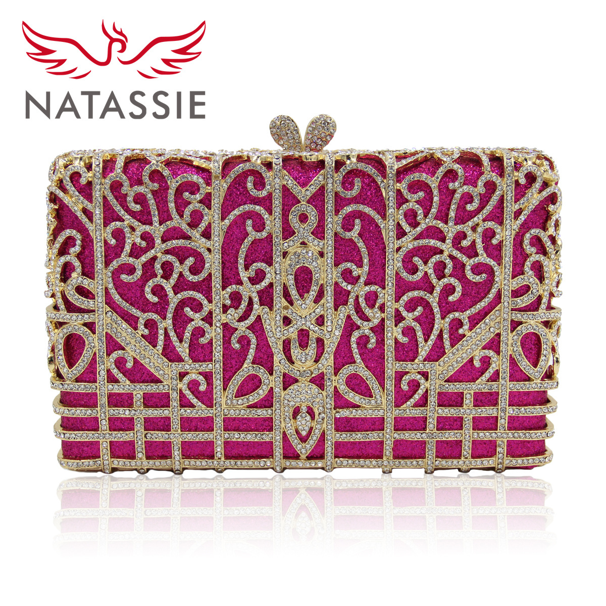 NATASSIE Women Evening Bags New Fashion Ladies Wedding Purses High Quality Peach Design Crystal Bags Female Day Clutches Purse natassie new design luxury crystal clutch women evening bag gold red ladies wedding banquet party purses good quality