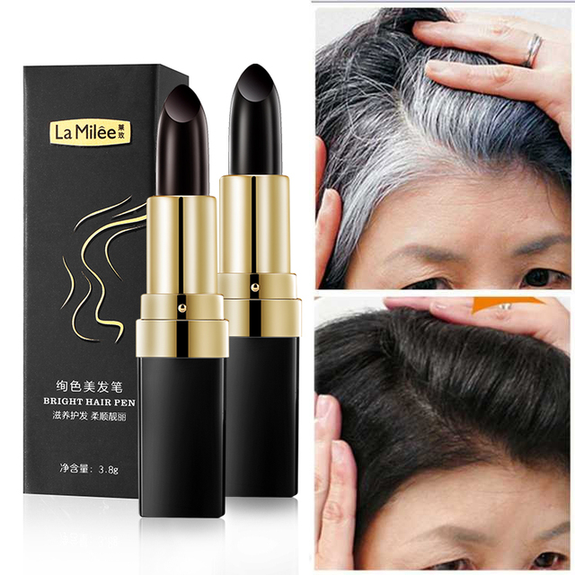 One Time Hair dye Instant Gray Root Coverage Hair Color Modify Cream Stick Temporary Cover Up White Hair Colour Dye 3.8g