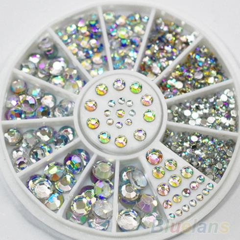 Hot Sale 5 Sizes White Multicolor Acrylic Nail Art Decoration Glitter Rhinestones  03V4 a06b 6102 h206 used in good condition