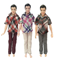 Free Shipping 3 Sets Men Outfit T-shirt Trousers Casual Suit Clothes Daily Wear Outfit For Barbie Friend Ken Doll Gift Baby Toy