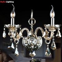 Luxury Modern Crystal Wall Lamps Living Room Champagne Import Top Grade Beside Crystal Wall Lighting