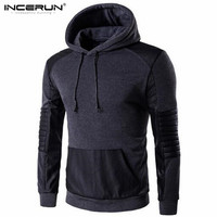 New Brand Sweatshirt Male 2017 Leather Stitching Mens Hoodies Sweatshirt Slim Cotton Men Casual Hooded Pullover