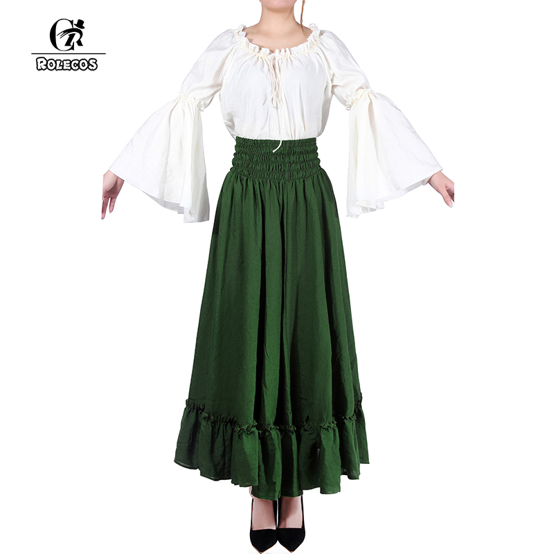 ROLECOS Women Lolita Dresses Suit Fashion Long Sleeves Cotton Linen Dress Sweet Skirt Cosplay Costumes for Female Party