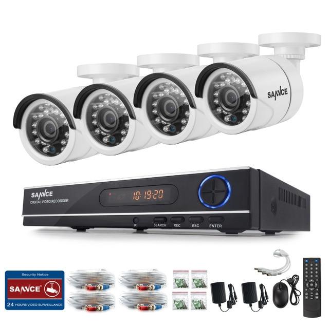 SANNCE 8CH 720P AHD DVR 4PCS 1200TVL IR Night Vision Outdoor CCTV Camera 24 LEDs Home Security CCTV System Surveillance Kit