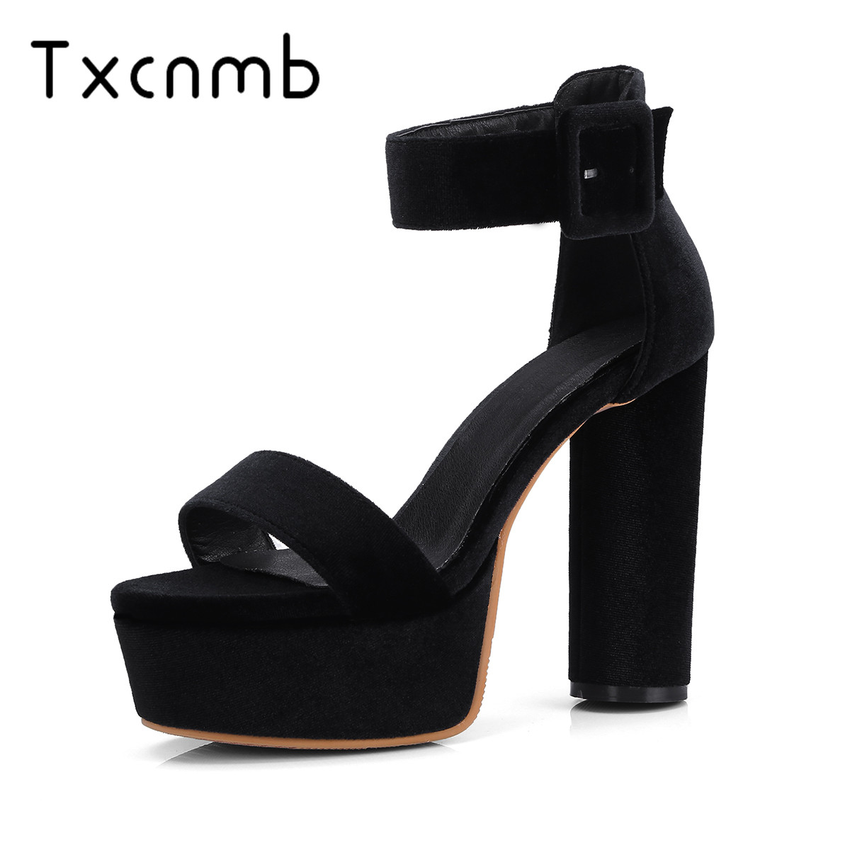 TXCNMB Fashion Elegant Super Woman sandals 2019 New Summer Party <font><b>Shoes</b></font> Woman wedding <font><b>Sexy</b></font> Buckle Prom <font><b>Shoes</b></font> big <font><b>size</b></font> 12 <font><b>11</b></font> image