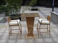 3pcs All Weather Waterproof Outdoor Garden Resin Wicker Bar Set