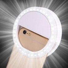 Универсальный светодиодный кольцевой светильник для селфи портативный мобильный телефон 36 светодиодный S лампа для селфи светящаяся кольцевая клипса для iPhone для samsung