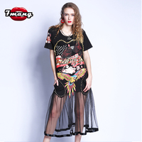 2017 Women Fashion Harajuku Black Short Sleeve Rivet Dress Straight Loose Patchwork Mesh Print Beading Street