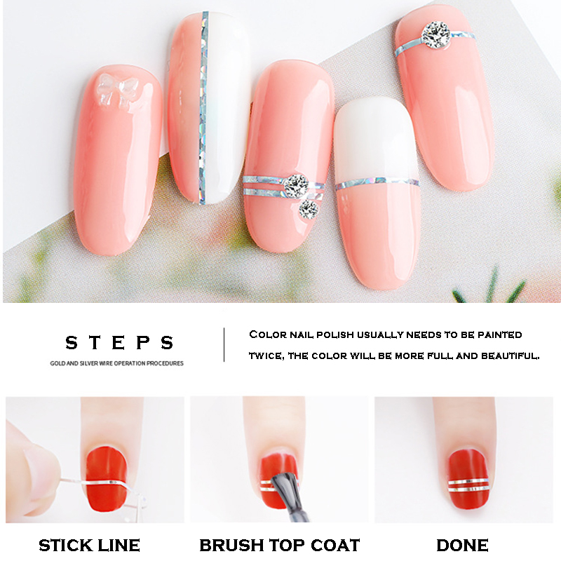 1pc Nail Art Sticker 0 8 mm Width Line Sticker For DIY Unique Nail Art 1 Roll Line Tape Nail Decoration Sticker NBA in Stickers Decals from Beauty Health