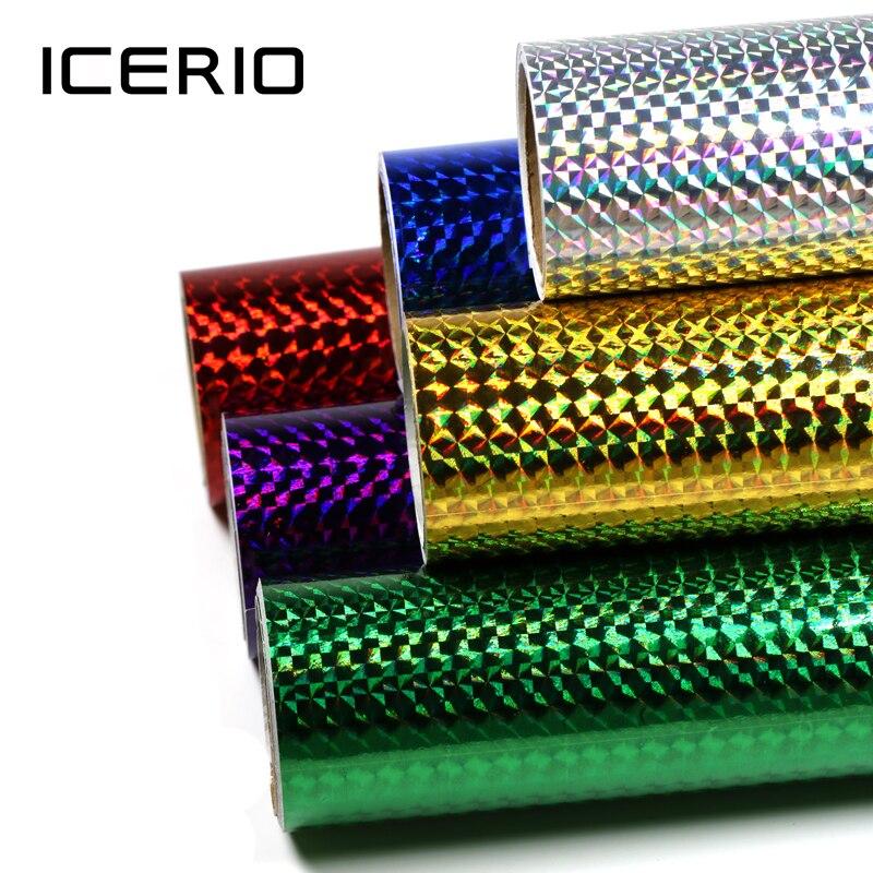 ICERIO 1 rouleau leurre bâtiment gabarit peau de calmar holographique adhésif Film autocollant Flash bande Sabiki appât décalque mouche attachant matériel