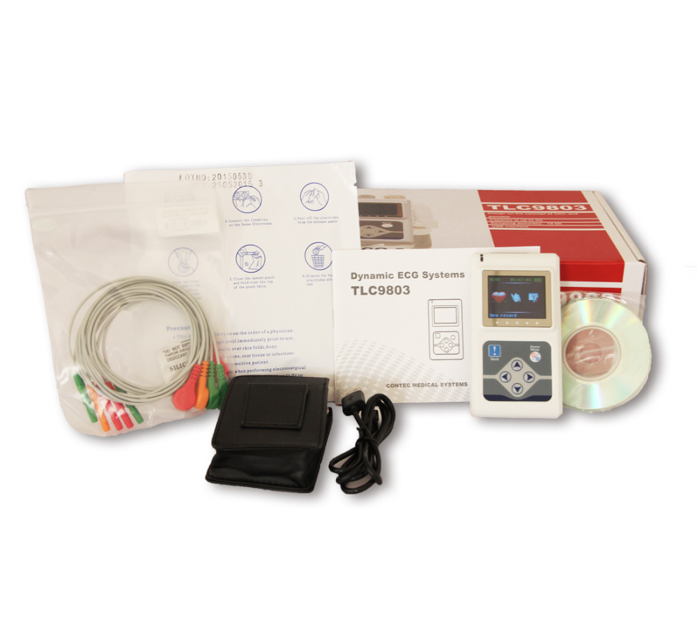 Free 10 packs of Sensor 3 Channels Contec TLC9803 Hand-held ECG/EKG Holter Monitoring Recorder System CE FDA Certified цена
