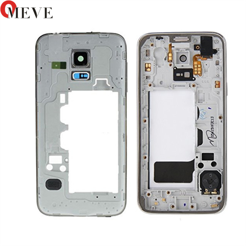 Original Single Housing Case + Camera Lens Glass For Samsung Galaxy S5 mini G800 Middle frame Plate bezel Mid Chassis Backplate