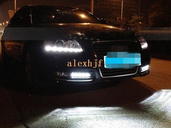 July king led gündüz farları sis lambası kapağı ile drl, LED Sis Lambası Audi A6 A6L 2009 ~ 2011 için Kılıf, hızlı kargo