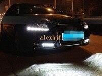 July king llevó las luces de circulación diurna drl con la cubierta de la lámpara, LED Lámpara de La Niebla para Audi A6 A6L 2009 ~ 2011, envío rápido