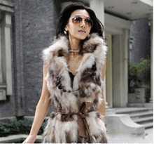 Free Shipping Genuine natural fox fur vest women's long real fur jacket waistcoats Luxurious coat