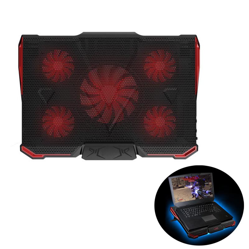 Portable USB Cooling Pad 5 Fans Adjustable Speed Laptop Cooler Heatsink For 14-17 Inch Laptop Stand Holder Radiator  XXM coween laptop cooling pad 17 11 inch silent 4 big radiator fan usb cooler pad aluminium stand for macbook pro laptop notebook