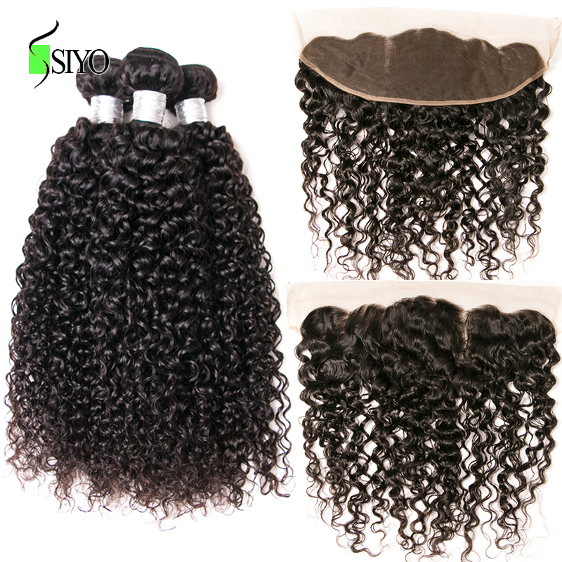 SIYO Hair Brazilian Kinky Curly Lace Frontal Closure With 3Bundles Human Hair Bundles With Closure 4PCS Hair Extensions Non Remy