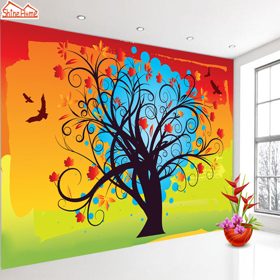 ShineHome-Colorful Flying Bird Tree 3d Wallpaper Mural for Walls 3 d Wallpapers for Livingroom Kids 3 d Mural Roll Room Home Art shinehome sunflower bloom retro wallpaper for 3d rooms walls wallpapers for 3 d living room home wall paper murals mural roll