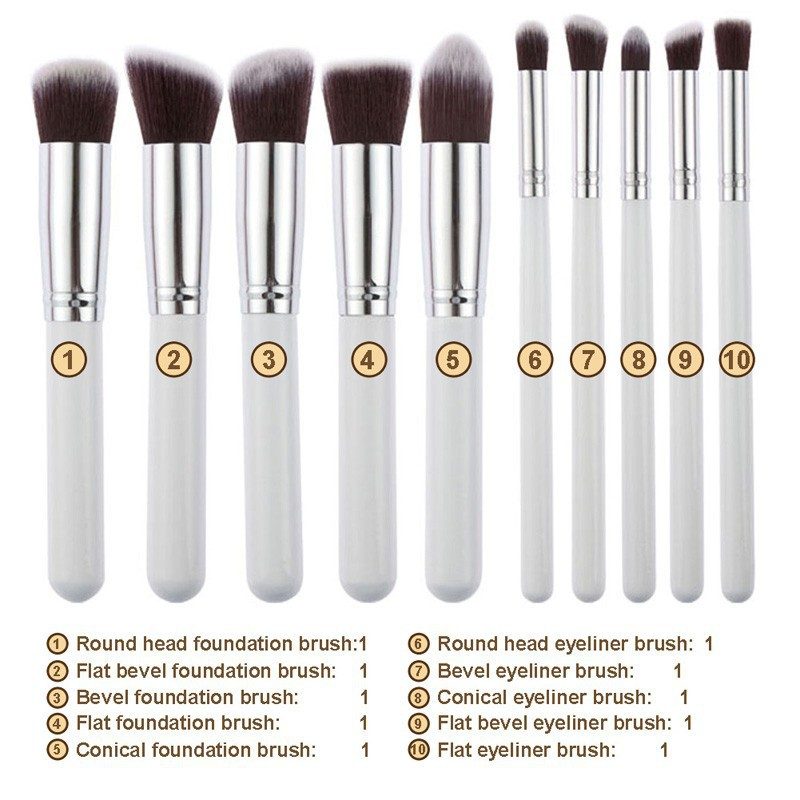 Professional 10Pcs Makeup Brush Sets Tools Cosmetic Brush Foundation Eyeshadow Eyeliner Lip Powder Brush Pinceau Maquillage free shipping 3 pp eyeliner liquid empty pipe pointed thin liquid eyeliner colour makeup tools lfrosted purple