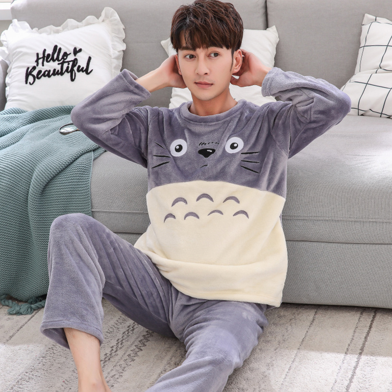 Men's   Pajamas     Set   Autumn Winter Coral Fleece Warm Thicken Flannel Warm   Pajamas   Men's Long Sleeve Nightwear Top Pant Flannel