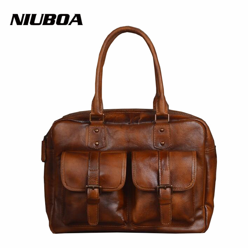 NIUBOA Luxury Women Genuine Leather Bag Big Vintage Cowhide Messenger Bags Handbags Laptop Female Tote Unisex Shoulder Bags chispaulo women genuine leather handbags cowhide patent famous brands designer handbags high quality tote bag bolsa tassel c165
