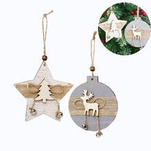 2PCS/Pack Bell Wooden Hanging Card Christmas Tree Innovative Pattern Pendant Hemp Rope Decoration