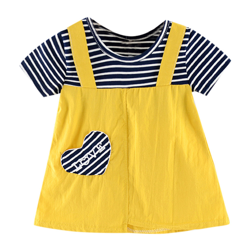 Toddler Kid Baby Girl Casual Short Sleeve Striped Printed Party Princess Dress