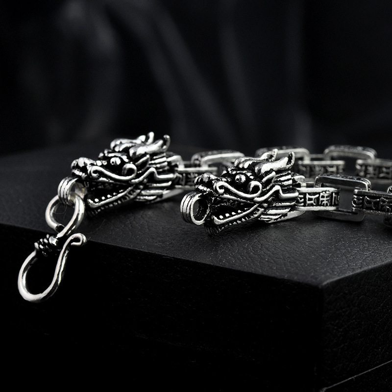 S925 Sterling Silver Six Words Double Lead Thai Silver Bracelet Retro Men's Bracelet Punk Rock Bracelets Biker Gothic Jewelry 925 sterling silver couple dragon bracelet men vintage punk rock bracelets biker gothic jewelry pulsera hombre
