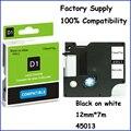 10 unids 12 mm Compatible D1 Dymo 45013 cinta de la etiqueta cartuchos negro on blanco envío ( fuente de la fábrica )