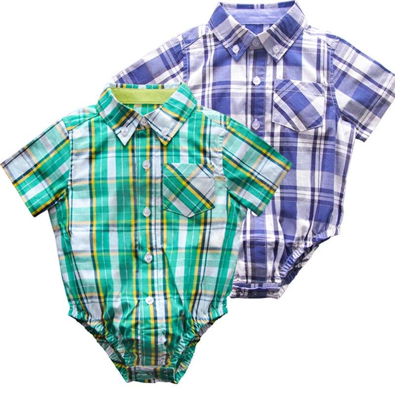 Baby Boy Bodysuit Newborn Baby Plaid Button up Short ...