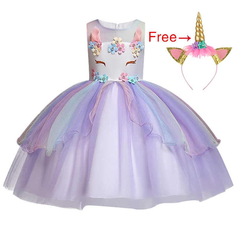 2019 unicorn summer new high-end children's princess dress baby rainbow mesh party dress girl role-playing pony children's wear