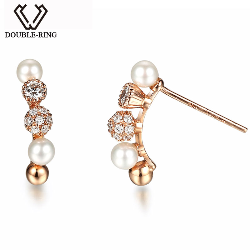 DOUBLE-RING 0.36ct Genuine Diamond Real Pure Solid 18k Rose Gold Earrings 18k Diamond Earrings 1000pcs 0402 18k 18k ohm 5