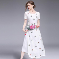 2017 Summer Womens Dresses Lace Butterfly Embroidered Split Prom Robe Plus Size Party Ukraine Chinese Style