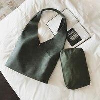 韓国スタイルシンプルな女性のハンドバッグポータブル大ショッピングバッグセット2ピース複合puレザーレディースショルダーホーボーバッグ
