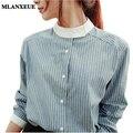 Повседневная Женщины Блузки Корейской версии С Длинным рукавом полосы Рубашка женщина Старинные Тонкий Дамы топы блузка Женщины Плюс Размер