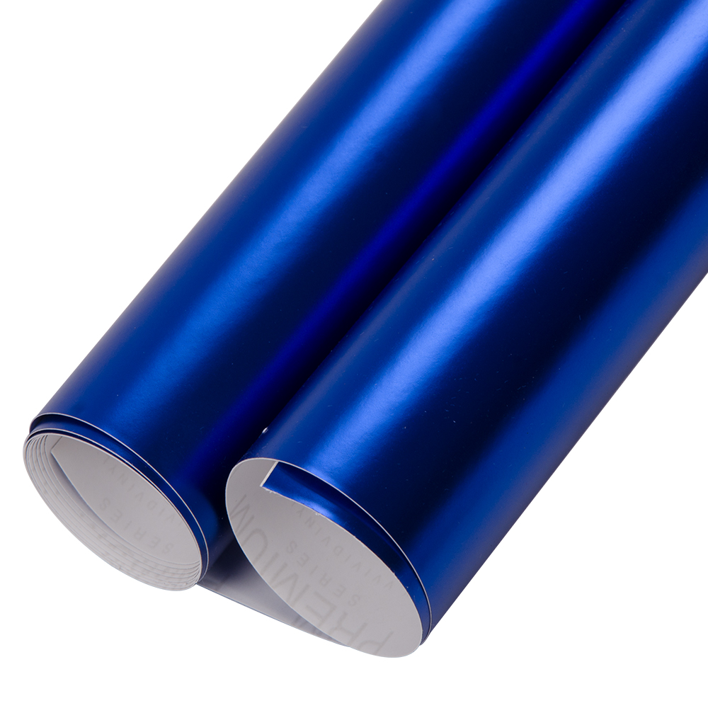 152x50cm/60x20 Premium Plating Black Dark Blue Satin Matte Chrome Vinyl Film Wrap Sticker Air Bubble