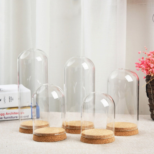 6 X Europe Large Glass Cloche Bell Jar Dome With Cork Base U Shape