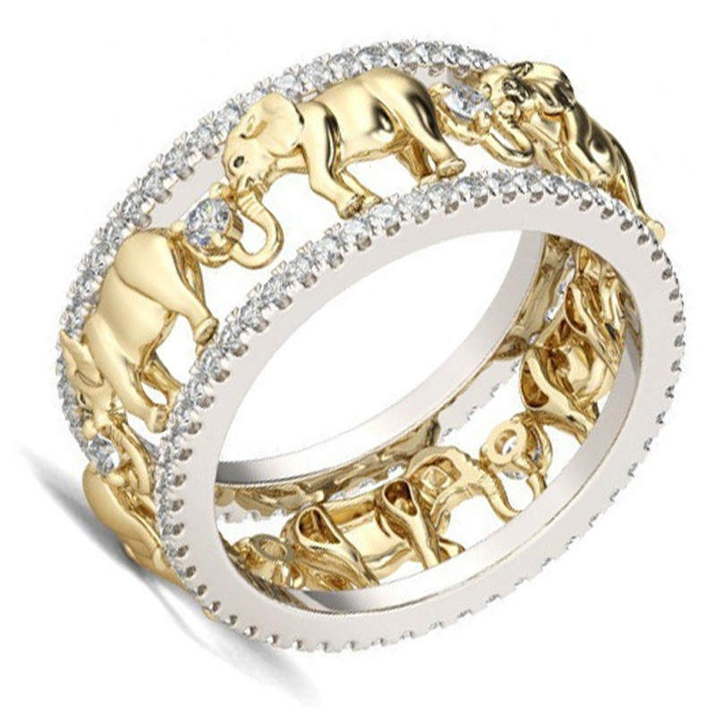 Fashion Pure Copper Antique Gold Color Lucky 3D Elephant Ring Romantic Zircon Ring For Man/Woman Jewelry