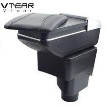 Vtear Para Ford Ecosport caixa Armazenar conteúdo caixa apoio de braço central interior de Couro PU suporte de copo cinzeiro do carro-styling acessórios