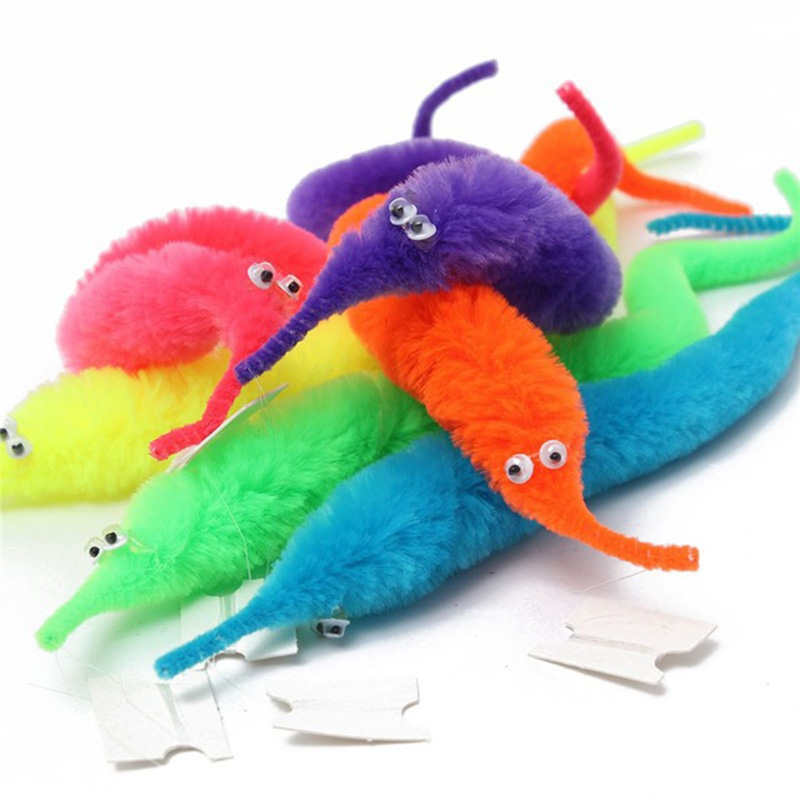 3pcs Magic Twisty Fuzzy Worm Wiggle Moving Sea Horse Kids close-up street comedy Magic Tricks Toys wholesale no packdge image