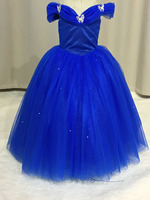 Long Princess Cinderella Flower Girl Dresses Off The Shoulder Floor Length Ball Gown Blue Kids Pageant