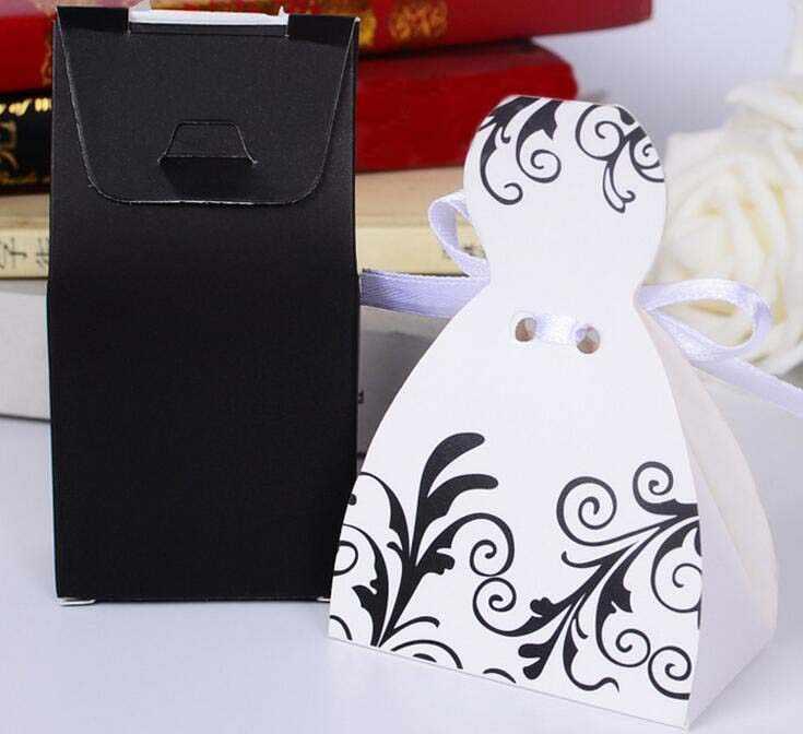 Белый черный цветок костюм платье шоколадный подарок, конфеты коробка для свадьбы День рождения Чай украшение для вечеринок Wh
