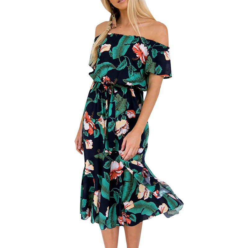 Summer Floral Print Drapped Boho Dess Women Slash Neck Shoulder Off Beach Dress Empire Waist Knee Length Vestidos